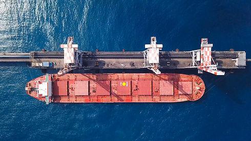 Bulk carrier docked in a Mediterranean p