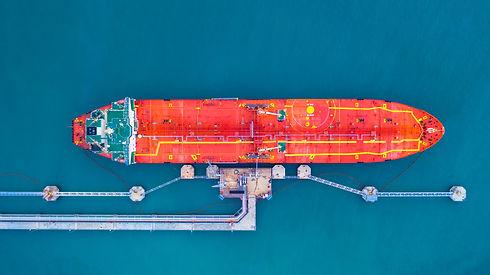 Oil/Chemical tanker ship loading in port