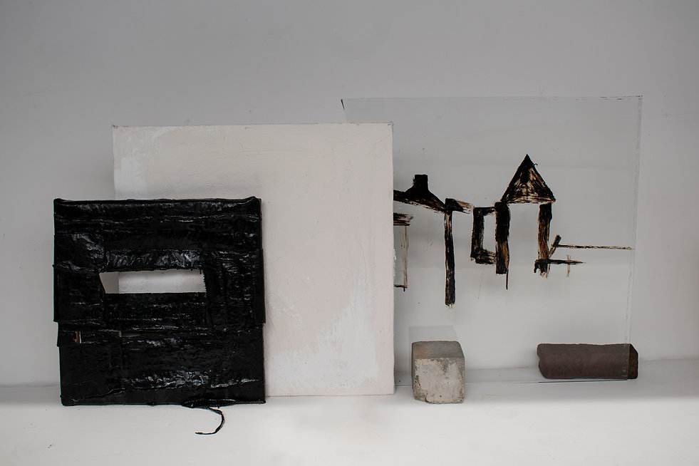 frame, glass, tar, plaster with iron and