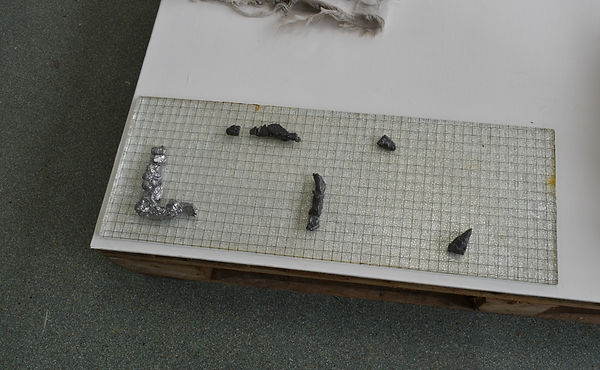 groundwork, lead casts on glass grid pan
