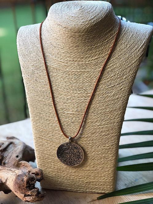 Vintage Sterling Mayan Calendar Pendant Necklace