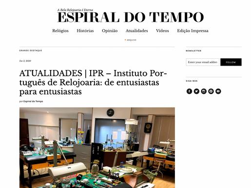Espiral do Tempo faz artigo sobre Instituto Português de Relojoaria