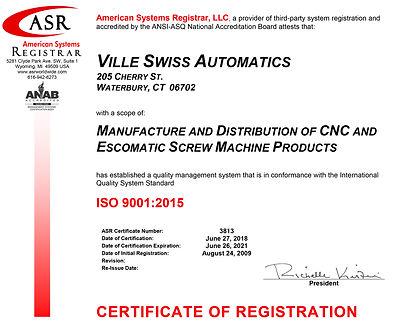 3813 Ville Swiss ISO 9001 Certificate Ju