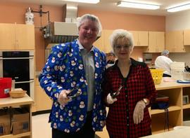 Flipping pancakes with Mayor Mauseth