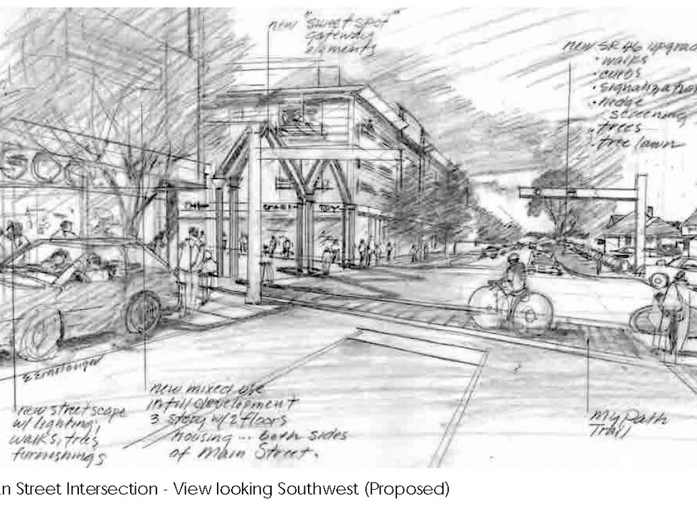 Main & Morgan intersection-Southwest view
