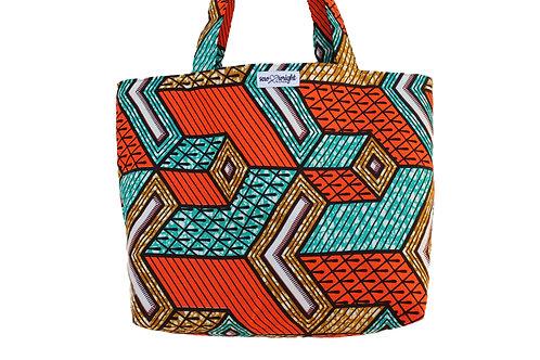 Reversible Tote Bag - Orange Ankara