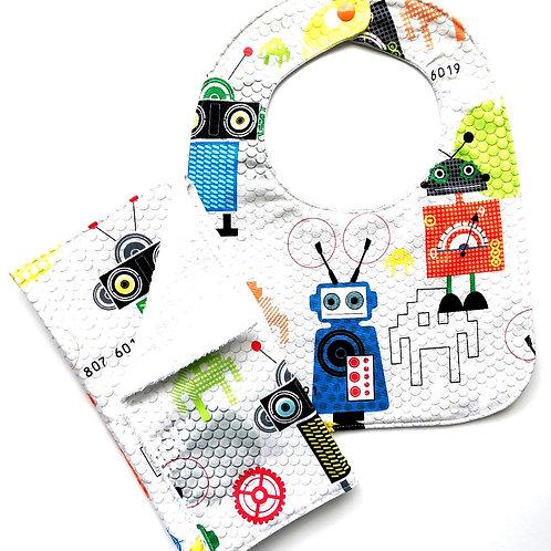 Robots Bib & Burp Cloth Set