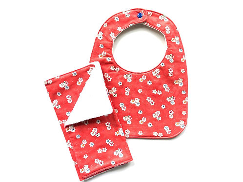 Flower Bib & Burp Cloth Set - Punch