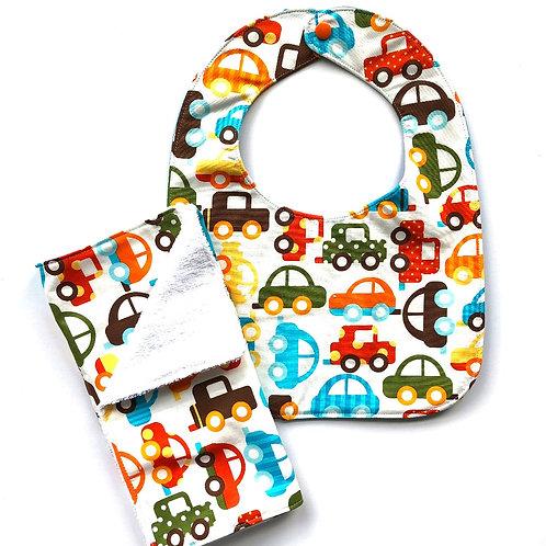 Cars Bib & Burp Cloth Set
