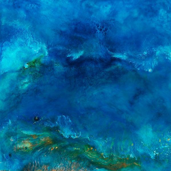 Blue / Ocean Encaustic Artpiece, Wall Sculpture, Encaustic Art By Laura Anderson - Evoke Art Studio
