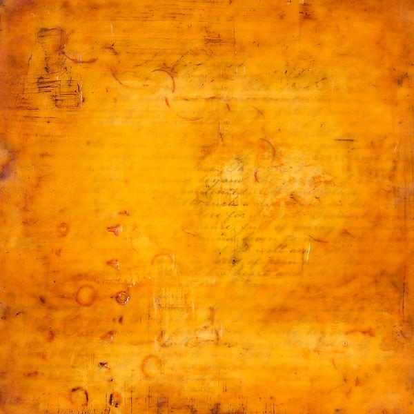 Orange / Love Note / Written Encaustic Artpiece, Wall Sculpture, Encaustic Art By Laura Anderson - Evoke Art Studio