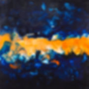 Blue / Orange Encaustic Artpiece, Wall Sculpture, Encaustic Art By Laura Anderson - Evoke Art Studio