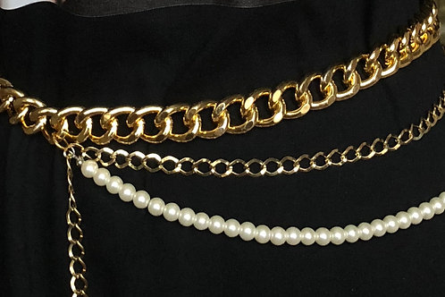 GOLD & SILVER // Pearl Chunky Chain Belt