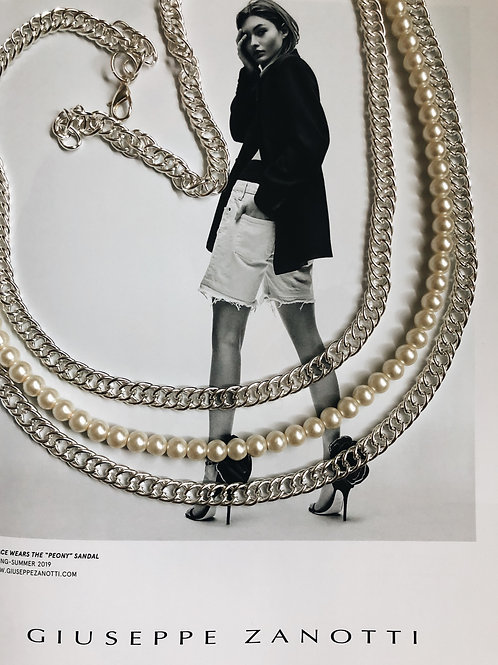 chain pearl belt