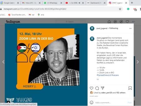 """ZWST Jugend - 12.05.2021 - LIVE Update                    Webinar: """"Israel und Gaza """""""