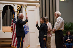 Giving Oath of Office to soon to be 2LT