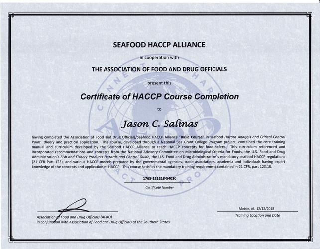 HACCP Certification - JC's Gourmet