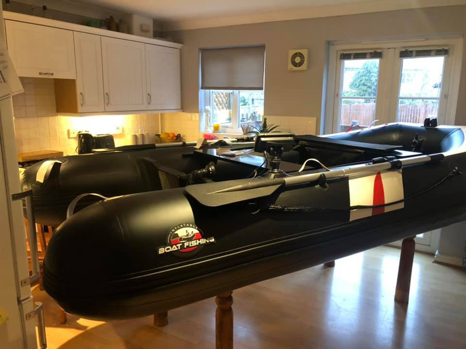 inflatable boat on kitchen table