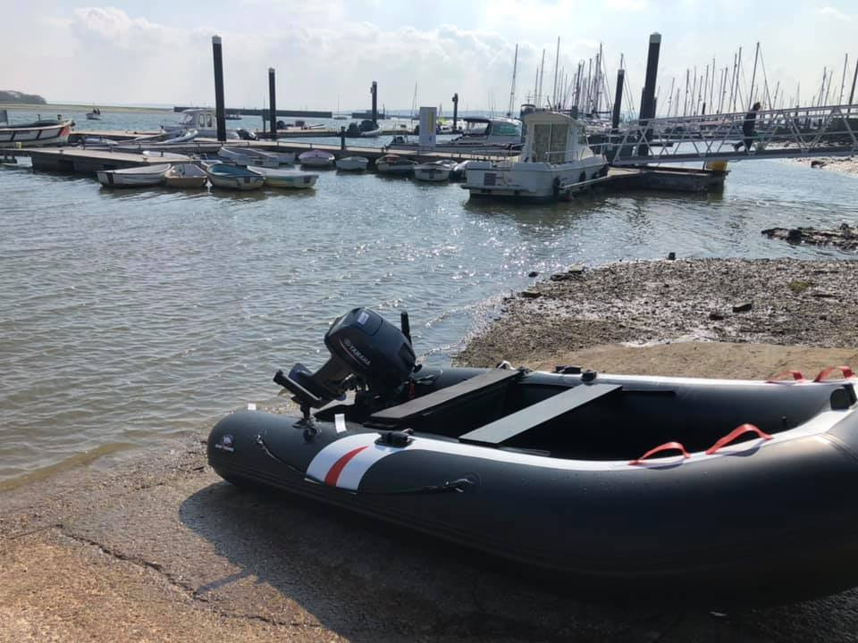 inflatable boat by the slipway
