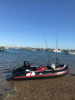 The Hydrus II inflatable fishing boat ready to go