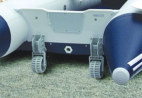 Dolly wheels attatched to an inflatable boat transom