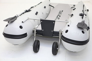 Takacat inflatable boat with open trnsom wheels