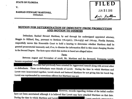 Motion for Immunity from Prosecution Under Florida Stand Your Ground Statute (Martinez 2010)