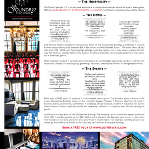 Marketing Info-Graphic Flyers for Loft Reverie Hotel + The Foundry Event Venues
