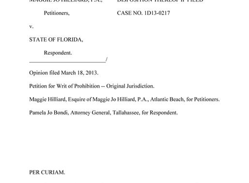Appellate Practice Success: Martinez 1D13-0217, Original Jurisdiction Petition for Writ of Mandamus