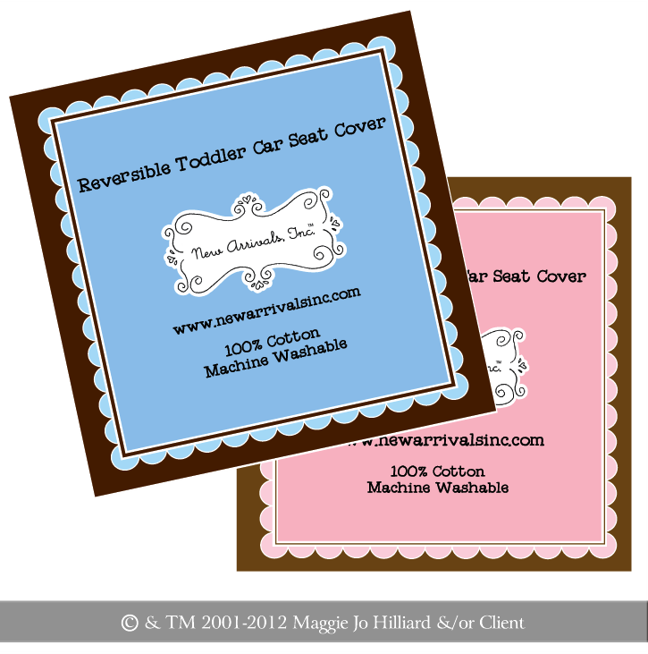 Product Labels for Toddler Car Seat Covers for New Arrivals Inc by Maggie Jo