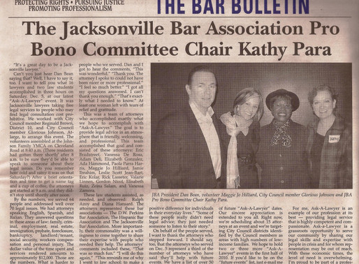 JALA Ask-A-Lawyer Volunteer Attorney, Jacksonville Bar Bulletin (2010)