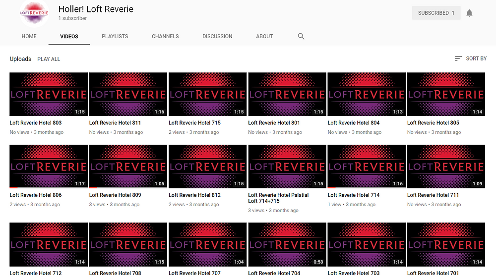 Loft Reverie Video Tours Channel on YouTube by Maggie Jo