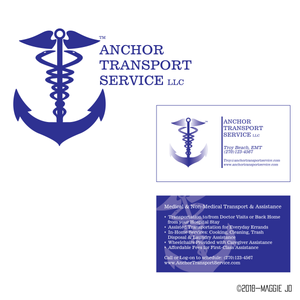 Anchor Transport Service Custom Blue Caduceus Logo + Branding + Business Card Designs by Maggie Jo