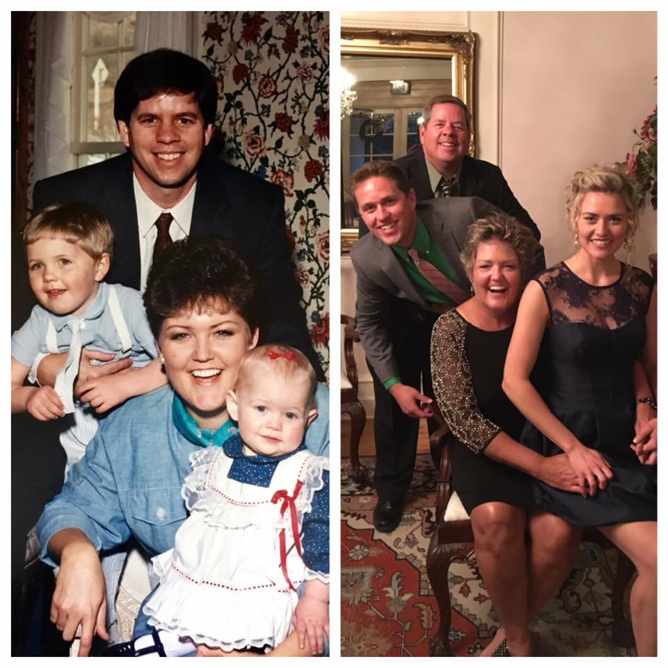 This family were guests at Willow Ridge Manor sometime in the 90's. They returned in '16 for another event and retook another family picture.
