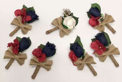 Burgundy and Navy Blue Boutonnieres
