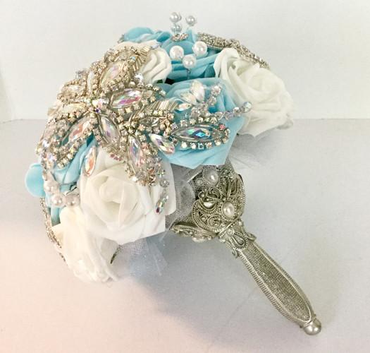 Light Blue Rose Bridal Brooch Applique Bouquet