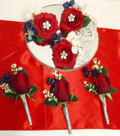 Red White and Blue Boutonnieres and Wristlet Corsages