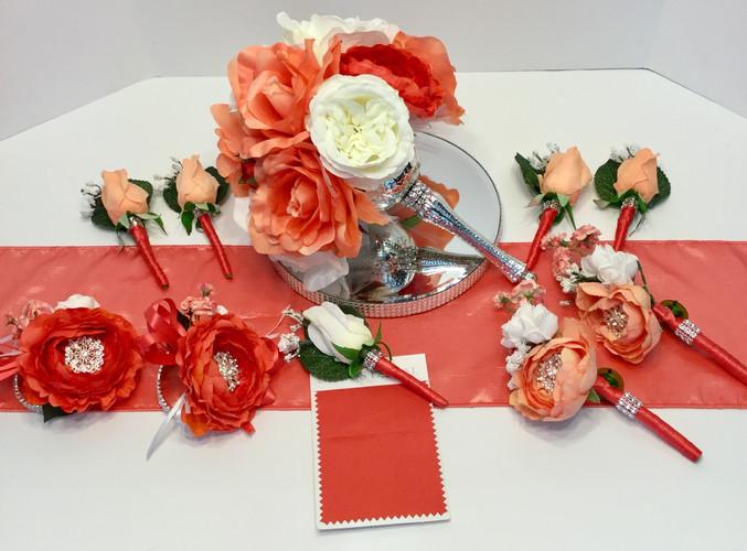 Coral  / Guava Bridal Party Set