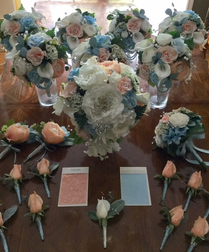 Peach and Lt Blue Brooch Bouquets