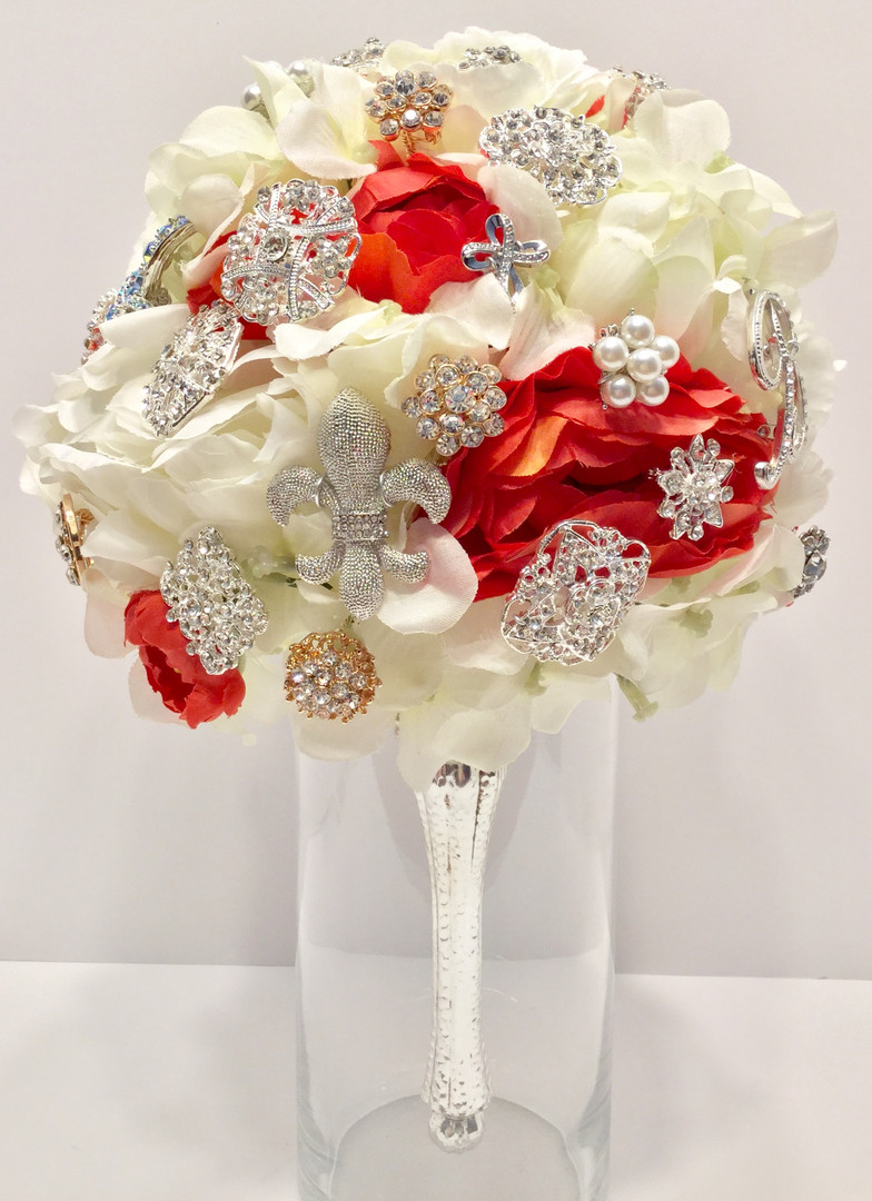 Coral / Guava Brooch Bouquet