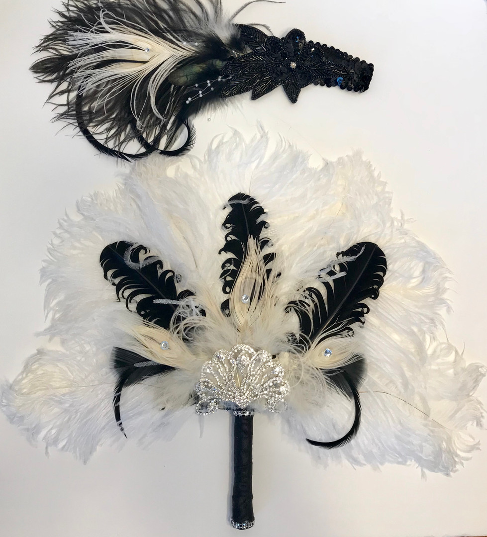 Feather Fan Bouquet and Matching Feather Headpiece