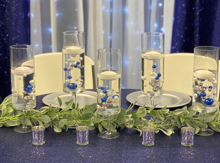 Navy Sequin Backdrop with Lights