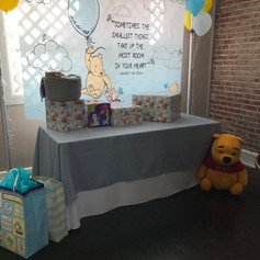 Pooh Backdrop and Gift Table