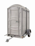 Double trailer with portable toilets