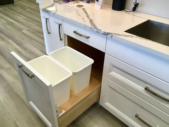 Floor mounted trash & recycling bins