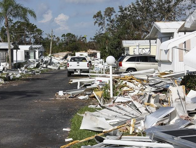 Debris at mobile home park in Fort Myers, FL