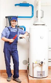 Plumbing contractor installs water heater
