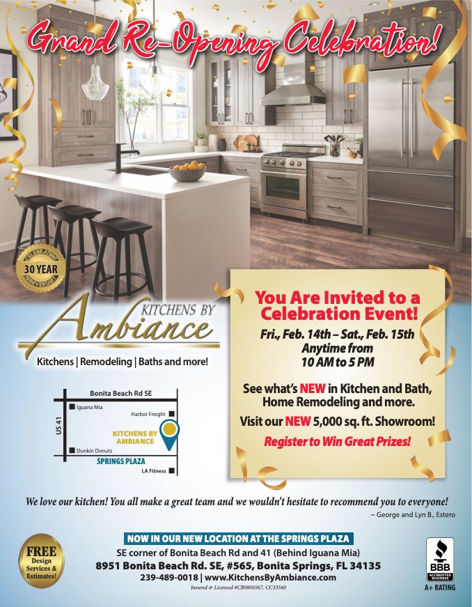 Bonita Springs Kitchen Remodeling company celebrates grand re-opening Feb 14 and 15, 2020