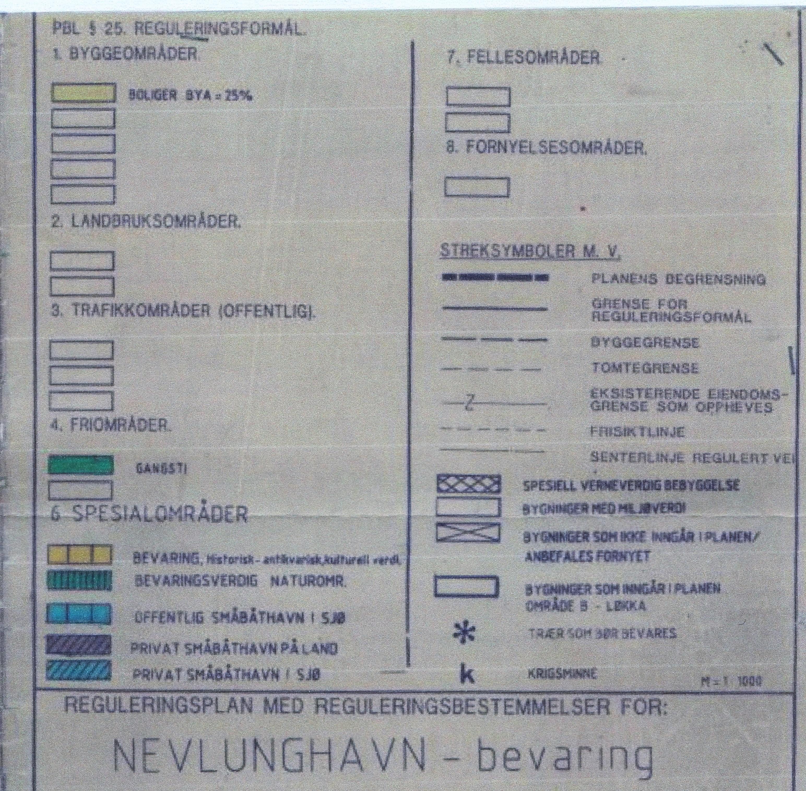 1 Bev.plan Tegnforklaring til kart