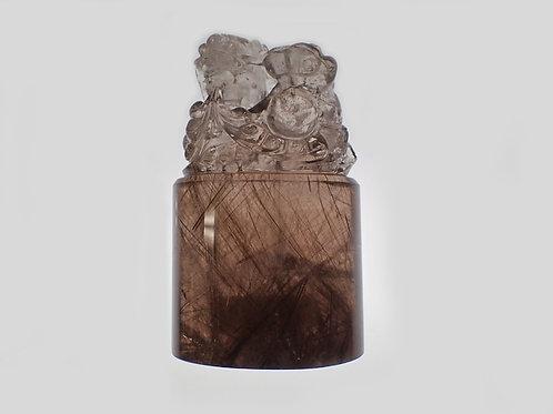ルチルクオーツ_龍彫り水晶の印鑑